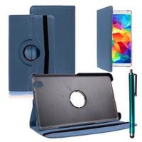 Samsung Galaxy Tab 4 8.0 Wi-Fi SM-T330/ 3G T331/ LTE 4G T335/ Wi-Fi (2015) T333: Accessoire Etui Housse Coque avec support Et Rotative Rotation 360° en cuir PU + Stylet - BLEU FONCE