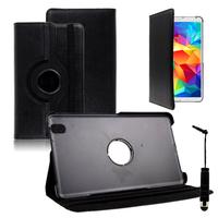 Samsung Galaxy Tab 4 8.0 Wi-Fi SM-T330/ 3G T331/ LTE 4G T335/ Wi-Fi (2015) T333: Accessoire Etui Housse Coque avec support Et Rotative Rotation 360° en cuir PU + mini Stylet - NOIR