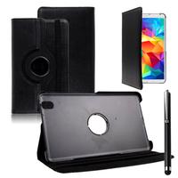 Samsung Galaxy Tab 4 8.0 Wi-Fi SM-T330/ 3G T331/ LTE 4G T335/ Wi-Fi (2015) T333: Accessoire Etui Housse Coque avec support Et Rotative Rotation 360° en cuir PU + Stylet - NOIR