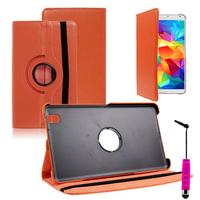 Samsung Galaxy Tab 4 8.0 Wi-Fi SM-T330/ 3G T331/ LTE 4G T335/ Wi-Fi (2015) T333: Accessoire Etui Housse Coque avec support Et Rotative Rotation 360° en cuir PU + mini Stylet - ORANGE