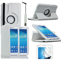 Samsung Galaxy Tab 3 7.0 SM-T210 P3200 P3210: Accessoire Etui Housse Coque avec support Et Rotative Rotation 360° en cuir PU + mini Stylet - BLANC