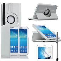 Samsung Galaxy Tab 3 7.0 SM-T210 P3200 P3210: Accessoire Etui Housse Coque avec support Et Rotative Rotation 360° en cuir PU + Stylet - BLANC