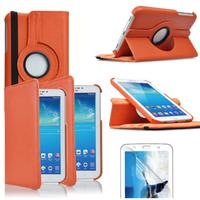 Samsung Galaxy Tab 3 7.0 SM-T210 P3200 P3210: Accessoire Etui Housse Coque avec support Et Rotative Rotation 360° en cuir PU - ORANGE
