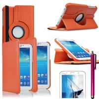 Samsung Galaxy Tab 3 7.0 SM-T210 P3200 P3210: Accessoire Etui Housse Coque avec support Et Rotative Rotation 360° en cuir PU + Stylet - ORANGE