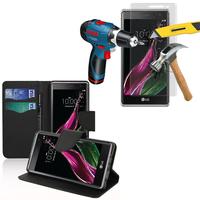 LG Zero/ LG Class: Etui Coque Housse Pochette Accessoires portefeuille support video cuir PU effet tissu + 2 Films de protection d'écran Verre Trempé - NOIR
