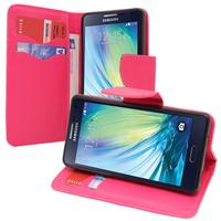 Samsung Galaxy A5 SM-A500F A500H A500K/ A5 Duos SM-A500F/DS SM-A500G/DS A500M/DS (non compatible Galaxy A5 (2016)): Accessoire Etui portefeuille Livre Housse Coque Pochette support vidéo cuir PU effet tissu - ROSE