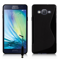 Samsung Galaxy A7/ A7 Duos SM-A700F/ A700FD/ A700K/ A700L/ A700S/ A700X/ A7000/ A7009/ A700H/ A700YD (non compatible Galaxy A7 (2016)): Accessoire Housse Etui Pochette Coque S silicone gel + mini Stylet - NOIR
