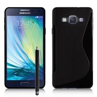 Samsung Galaxy A7/ A7 Duos SM-A700F/ A700FD/ A700K/ A700L/ A700S/ A700X/ A7000/ A7009/ A700H/ A700YD (non compatible Galaxy A7 (2016)): Accessoire Housse Etui Pochette Coque S silicone gel + Stylet - NOIR