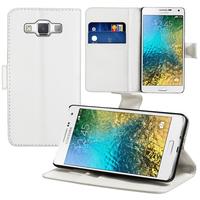 Samsung Galaxy E5 SM-E500F E500H E500HQ E500M E500F/DS E500H/DS E500M/DS: Accessoire Etui portefeuille Livre Housse Coque Pochette support vidéo cuir PU - BLANC