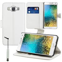Samsung Galaxy E5 SM-E500F E500H E500HQ E500M E500F/DS E500H/DS E500M/DS: Accessoire Etui portefeuille Livre Housse Coque Pochette support vidéo cuir PU + mini Stylet - BLANC