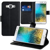 Samsung Galaxy E5 SM-E500F E500H E500HQ E500M E500F/DS E500H/DS E500M/DS: Accessoire Etui portefeuille Livre Housse Coque Pochette support vidéo cuir PU - NOIR