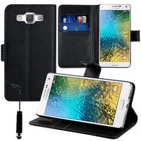 Samsung Galaxy E5 SM-E500F E500H E500HQ E500M E500F/DS E500H/DS E500M/DS: Accessoire Etui portefeuille Livre Housse Coque Pochette support vidéo cuir PU + mini Stylet - NOIR