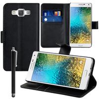 Samsung Galaxy E5 SM-E500F E500H E500HQ E500M E500F/DS E500H/DS E500M/DS: Accessoire Etui portefeuille Livre Housse Coque Pochette support vidéo cuir PU + Stylet - NOIR