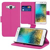 Samsung Galaxy E5 SM-E500F E500H E500HQ E500M E500F/DS E500H/DS E500M/DS: Accessoire Etui portefeuille Livre Housse Coque Pochette support vidéo cuir PU - ROSE