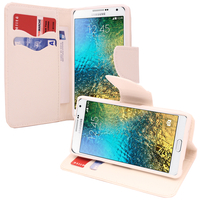 Samsung Galaxy E5 SM-E500F E500H E500HQ E500M E500F/DS E500H/DS E500M/DS: Accessoire Etui portefeuille Livre Housse Coque Pochette support vidéo cuir PU effet tissu - BLANC