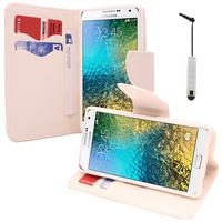Samsung Galaxy E5 SM-E500F E500H E500HQ E500M E500F/DS E500H/DS E500M/DS: Accessoire Etui portefeuille Livre Housse Coque Pochette support vidéo cuir PU effet tissu + mini Stylet - BLANC