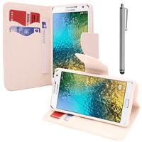Samsung Galaxy E5 SM-E500F E500H E500HQ E500M E500F/DS E500H/DS E500M/DS: Accessoire Etui portefeuille Livre Housse Coque Pochette support vidéo cuir PU effet tissu + Stylet - BLANC