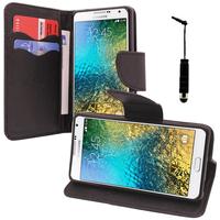 Samsung Galaxy E5 SM-E500F E500H E500HQ E500M E500F/DS E500H/DS E500M/DS: Accessoire Etui portefeuille Livre Housse Coque Pochette support vidéo cuir PU effet tissu + mini Stylet - NOIR