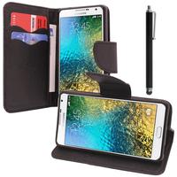 Samsung Galaxy E5 SM-E500F E500H E500HQ E500M E500F/DS E500H/DS E500M/DS: Accessoire Etui portefeuille Livre Housse Coque Pochette support vidéo cuir PU effet tissu + Stylet - NOIR