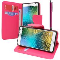 Samsung Galaxy E5 SM-E500F E500H E500HQ E500M E500F/DS E500H/DS E500M/DS: Accessoire Etui portefeuille Livre Housse Coque Pochette support vidéo cuir PU effet tissu + Stylet - ROSE