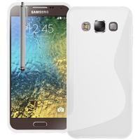 Samsung Galaxy E5 SM-E500F E500H E500HQ E500M E500F/DS E500H/DS E500M/DS: Accessoire Housse Etui Pochette Coque S silicone gel + Stylet - BLANC