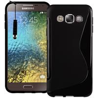 Samsung Galaxy E5 SM-E500F E500H E500HQ E500M E500F/DS E500H/DS E500M/DS: Accessoire Housse Etui Pochette Coque S silicone gel + mini Stylet - NOIR