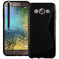 Samsung Galaxy E5 SM-E500F E500H E500HQ E500M E500F/DS E500H/DS E500M/DS: Accessoire Housse Etui Pochette Coque S silicone gel + Stylet - NOIR