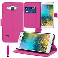 Samsung Galaxy E7 SM-E700 E7000 E7009 E700F E700F/DS E700H E700H/DD E700H/DS E700M E700M/DS: Accessoire Etui portefeuille Livre Housse Coque Pochette support vidéo cuir PU + mini Stylet - ROSE