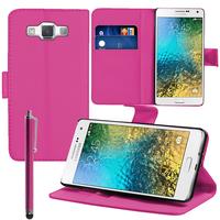 Samsung Galaxy E7 SM-E700 E7000 E7009 E700F E700F/DS E700H E700H/DD E700H/DS E700M E700M/DS: Accessoire Etui portefeuille Livre Housse Coque Pochette support vidéo cuir PU + Stylet - ROSE