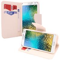 Samsung Galaxy E7 SM-E700 E7000 E7009 E700F E700F/DS E700H E700H/DD E700H/DS E700M E700M/DS: Accessoire Etui portefeuille Livre Housse Coque Pochette support vidéo cuir PU effet tissu - BLANC