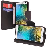 Samsung Galaxy E7 SM-E700 E7000 E7009 E700F E700F/DS E700H E700H/DD E700H/DS E700M E700M/DS: Accessoire Etui portefeuille Livre Housse Coque Pochette support vidéo cuir PU effet tissu - NOIR