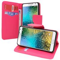 Samsung Galaxy E7 SM-E700 E7000 E7009 E700F E700F/DS E700H E700H/DD E700H/DS E700M E700M/DS: Accessoire Etui portefeuille Livre Housse Coque Pochette support vidéo cuir PU effet tissu - ROSE