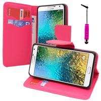 Samsung Galaxy E7 SM-E700 E7000 E7009 E700F E700F/DS E700H E700H/DD E700H/DS E700M E700M/DS: Accessoire Etui portefeuille Livre Housse Coque Pochette support vidéo cuir PU effet tissu + mini Stylet - ROSE