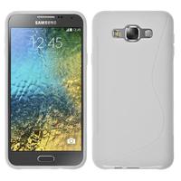 Samsung Galaxy E7 SM-E700 E7000 E7009 E700F E700F/DS E700H E700H/DD E700H/DS E700M E700M/DS: Accessoire Housse Etui Pochette Coque S silicone gel - BLANC