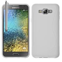 Samsung Galaxy E7 SM-E700 E7000 E7009 E700F E700F/DS E700H E700H/DD E700H/DS E700M E700M/DS: Accessoire Housse Etui Pochette Coque S silicone gel + Stylet - BLANC