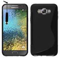 Samsung Galaxy E7 SM-E700 E7000 E7009 E700F E700F/DS E700H E700H/DD E700H/DS E700M E700M/DS: Accessoire Housse Etui Pochette Coque S silicone gel + mini Stylet - NOIR