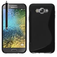 Samsung Galaxy E7 SM-E700 E7000 E7009 E700F E700F/DS E700H E700H/DD E700H/DS E700M E700M/DS: Accessoire Housse Etui Pochette Coque S silicone gel + Stylet - NOIR