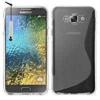 Samsung Galaxy E7 SM-E700 E7000 E7009 E700F E700F/DS E700H E700H/DD E700H/DS E700M E700M/DS: Accessoire Housse Etui Pochette Coque S silicone gel + mini Stylet - TRANSPARENT