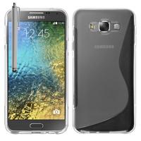 Samsung Galaxy E7 SM-E700 E7000 E7009 E700F E700F/DS E700H E700H/DD E700H/DS E700M E700M/DS: Accessoire Housse Etui Pochette Coque S silicone gel + Stylet - TRANSPARENT