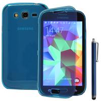 Samsung Galaxy Grand Plus/ Grand Neo/ Grand Lite I9060 I9062 I9060I i9080: Accessoire Coque Etui Housse Pochette silicone gel Portefeuille Livre rabat + Stylet - BLEU