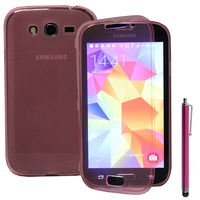 Samsung Galaxy Grand Plus/ Grand Neo/ Grand Lite I9060 I9062 I9060I i9080: Accessoire Coque Etui Housse Pochette silicone gel Portefeuille Livre rabat + Stylet - ROSE