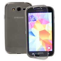 Samsung Galaxy Grand Plus/ Grand Neo/ Grand Lite I9060 I9062 I9060I i9080: Accessoire Coque Etui Housse Pochette silicone gel Portefeuille Livre rabat - TRANSPARENT
