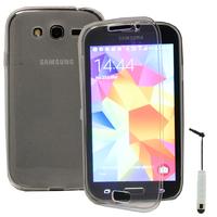 Samsung Galaxy Grand Plus/ Grand Neo/ Grand Lite I9060 I9062 I9060I i9080: Accessoire Coque Etui Housse Pochette silicone gel Portefeuille Livre rabat + mini Stylet - TRANSPARENT