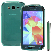 Samsung Galaxy Grand Plus/ Grand Neo/ Grand Lite I9060 I9062 I9060I i9080: Accessoire Coque Etui Housse Pochette silicone gel Portefeuille Livre rabat + Stylet - VERT
