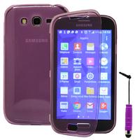 Samsung Galaxy Grand Plus/ Grand Neo/ Grand Lite I9060 I9062 I9060I i9080: Accessoire Coque Etui Housse Pochette silicone gel Portefeuille Livre rabat + mini Stylet - VIOLET