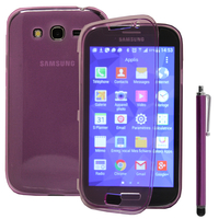 Samsung Galaxy Grand Plus/ Grand Neo/ Grand Lite I9060 I9062 I9060I i9080: Accessoire Coque Etui Housse Pochette silicone gel Portefeuille Livre rabat + Stylet - VIOLET
