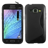 Samsung Galaxy J1/ J1 4G SM-J100F J100FN J100H/DD J100H/DS J100MU: Accessoire Housse Etui Pochette Coque S silicone gel + mini Stylet - NOIR