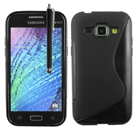 Samsung Galaxy J1/ J1 4G SM-J100F J100FN J100H/DD J100H/DS J100MU: Accessoire Housse Etui Pochette Coque S silicone gel + Stylet - NOIR