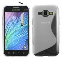 Samsung Galaxy J1/ J1 4G SM-J100F J100FN J100H/DD J100H/DS J100MU: Accessoire Housse Etui Pochette Coque S silicone gel + mini Stylet - TRANSPARENT