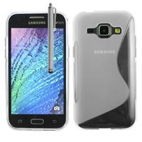 Samsung Galaxy J1/ J1 4G SM-J100F J100FN J100H/DD J100H/DS J100MU: Accessoire Housse Etui Pochette Coque S silicone gel + Stylet - TRANSPARENT